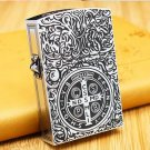 Hong Kong authentic ZR brand wind kerosene lighter silver large size Constantine lighter