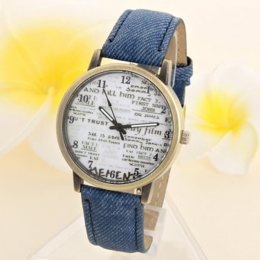 Unisex Casual Quartz Analog Sports Denim Fabric News Paper Wrist Watch