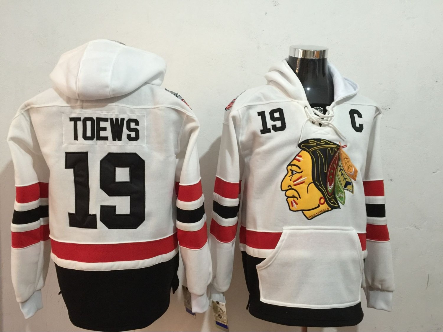 watch e11ef 14635 Mens Chicago Blackhawks #19 Jonathan Toews White Authentic Ice Hockey  Jersey Hoodie