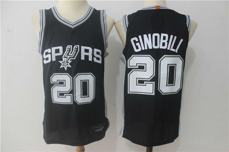 57c5ae6b 2017-18 San Antonio Spurs #20 Manu Ginobili Basketball Jersey Black