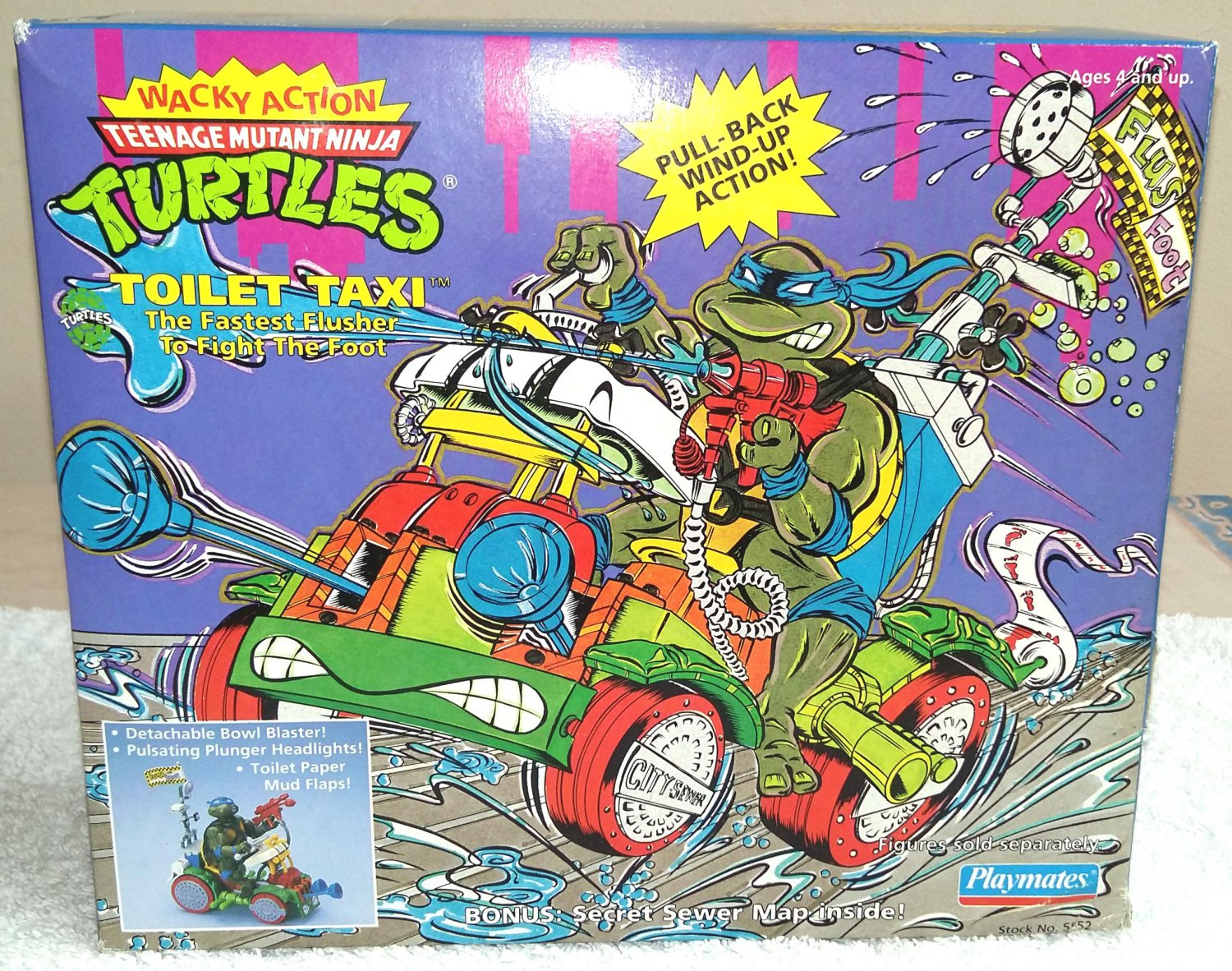 Toilet Taxi Teenage Mutant Ninja Turtles Wacky Action TMNT Playmates 1990