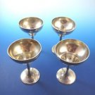 "Set of Four (4) Small Sterling Silver Wine Goblets with ""P"" Monogram"