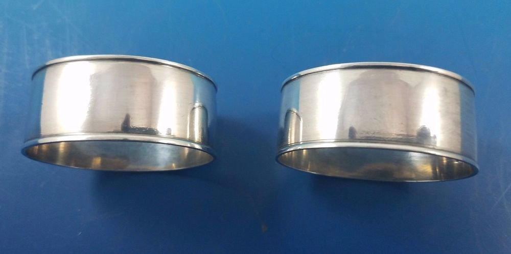 Pair of Sterling Silver Oval Napkin Rings Birmingham England by Aiken (#1585)