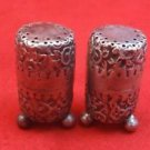 English Repousse Sterling Silver Salt & Pepper Shakers  ( #2448)