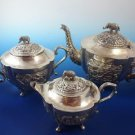 Asian Silver (3) Three Piece Tea Set with Elephant Knob on Top