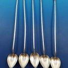 Set of 5 Sterling Silver Sipper Straws w/ Heart Shape Bowls by Watson (#1579)