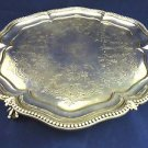 English Sterling Silver Round Footed Tray with Beaded Edge