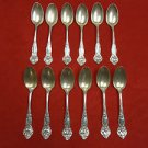 12 Sterling Silver Teaspoons by Wallace with 6 Floral Designs  (#77)