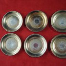 6 Sterling Silver Butter Pats with Gold Wash and Brite Cut Design  (#385)