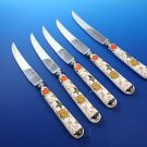 Five (5) Porcelain Handle Steak Knives, with Stainless Blades (2987)