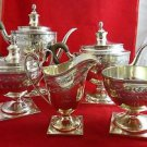 5 Piece Sterling Silver Tea Set with Wooden Handles