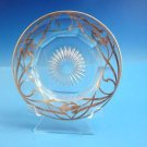 Antique Crystal Plate w / Silver Overlay and Starburst Cut Glass Design  (H161)