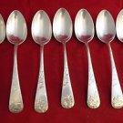 Set of 7 Sterling Silver Teaspoons in Jac Rose by Gorham Brite Cut 1885 (#2021)