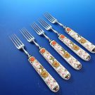 Five (5) Porcelain Handle Forks and Stainless Tines Made in England (2988)