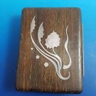 DANISH WOOD CARD BOX WITH STERLING INLAID THISTLE AND LEAF DESIGN  (#4)