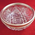 Gorham 1915 Brilliant Cut Crystal Sterling and Glass Bowl with Beaded Edge