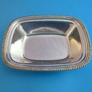 """Silver Plated Rectangular Bowl by Oneida with a Gadroon Edge 8 x 6 x 1 7/8"""""""