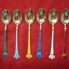 6 Norwegian Sterling Silver Vermeil Demitasse Spoons with Enamel  (#30)