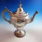 Silverplate Coffeepot with Beautiful Design with House, River & Trees