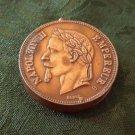 Antique Copper Snuff Box - French 5 Francs Coin 1870 (#CB52)