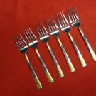 6 Calypso Stainless Salad Forks w/ Gold Accents by International (Discontinued)