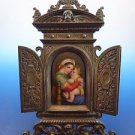 Religious Painted Porcelain Picture of Mary & Jesus  w/ Fancy Metal Frame #1551)