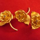3 Vermeil Sterling Rose Place Card Holders ( Or Menu Holders ) by Janna
