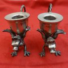 Pair of Silverplate Dragon Candleholders
