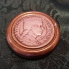 Brass Snuff Box with Latvia 5 Lati Coin dated  1929 (#CB65)