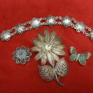 3 Filigree Silver Pins and Bracelet with Butterfly, Leaves and Flowers  (#395)