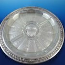 """Gorham Sterling Silver Relish Tray with """"K"""" Monogram Etched Glass Liner"""