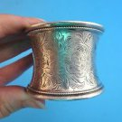 Antique Silver Plate  Wide Napkin Ring with Floral Design and Monogram (2825)