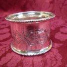 Vintage Silver Napkin Ring with Brite Cut Designs (#2068)
