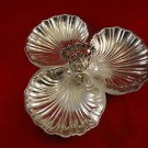 Silverplate Candy Dish with 3 Shell Bowls and Handle