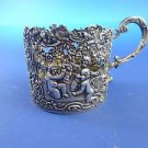 Antique Beautiful Dutch .875 Silver Cup Holder with Cherubs, Flowers etc.