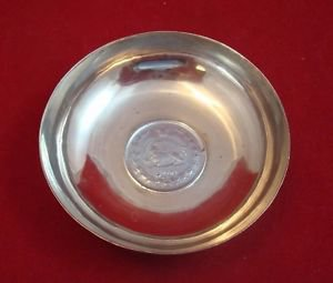 Antique Engraved Silver Dish with Iranian 10 Rial Coin 1946 (SH 1325)