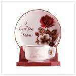 """I love you mom cup and saucer"