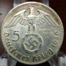 WW2 WWII Nazi German 5RM Swastika Hindenburg coin 1939