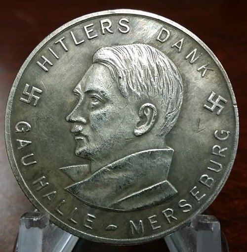 WWII WW2 Nazi German Hitler Dank medallion WHW 1933 1934 Adolf Coin