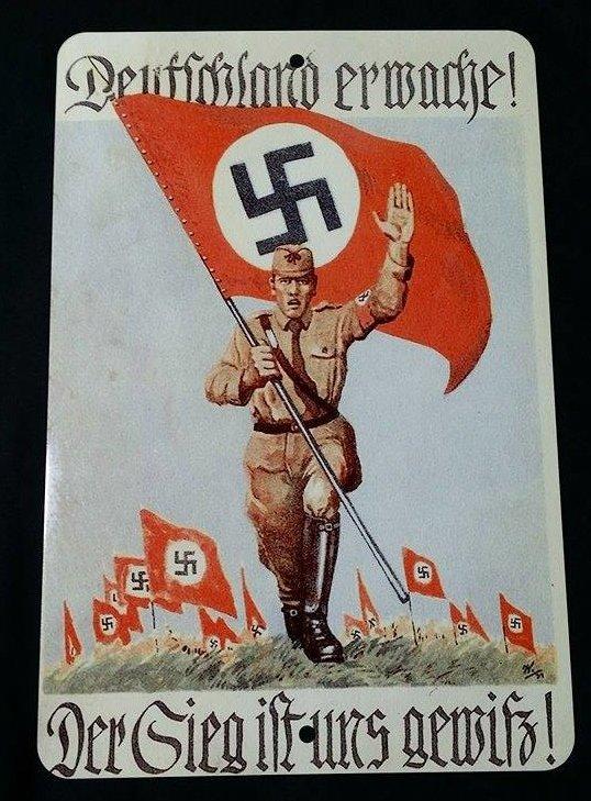 WWII WW2 Nazi German Deutschland Erwache Germany Awakes Metal sign