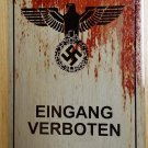 WWII WW2 Nazi German ENTRANCE FORBIDDEN eagle swastika Metal sign