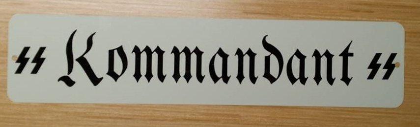 WWII WW2 SS KOMMANDANT Barracks  Nazi German metal sign