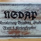 WWII WW2 Nazi German NSDAP Propaganda Metal sign