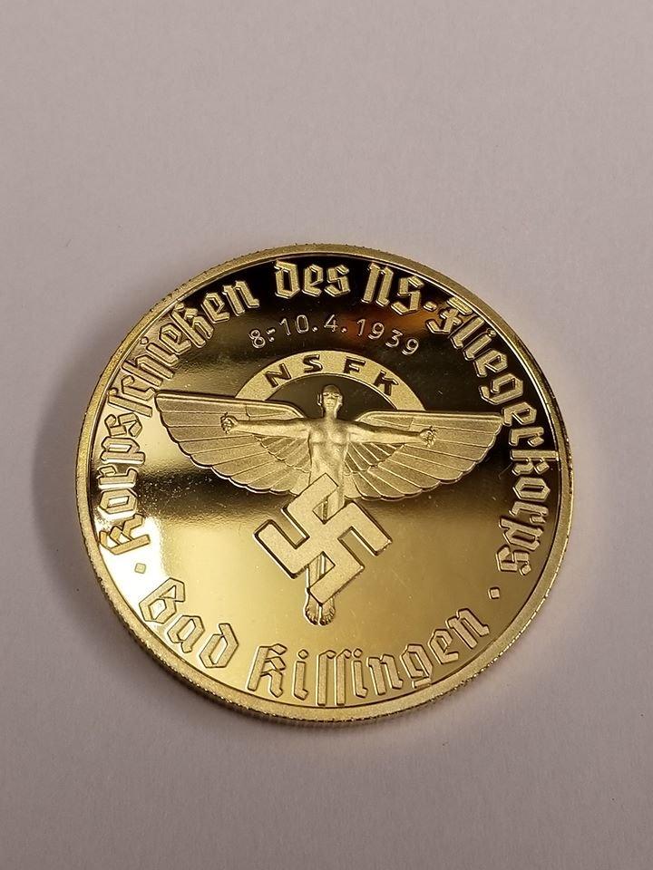 WWII WW2 Nazi German NSFK Fliegerkorps swastika 24K gold medal coin medallion