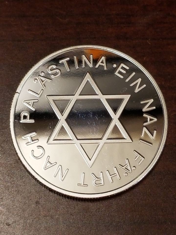 WWII WW2 German Nazi Zionist Der Angriff Anti semitic Goebbels swastika silver medal coin medallion
