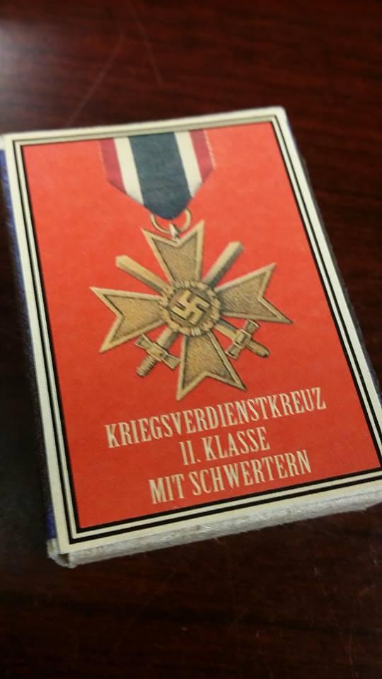 WWII Nazi German War Merit medal 1939 Vintage matchbox