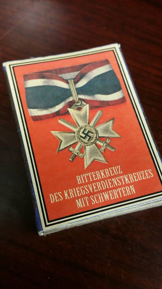 WWII Nazi German War Merit cross neck  medal 1939 Vintage matchbox