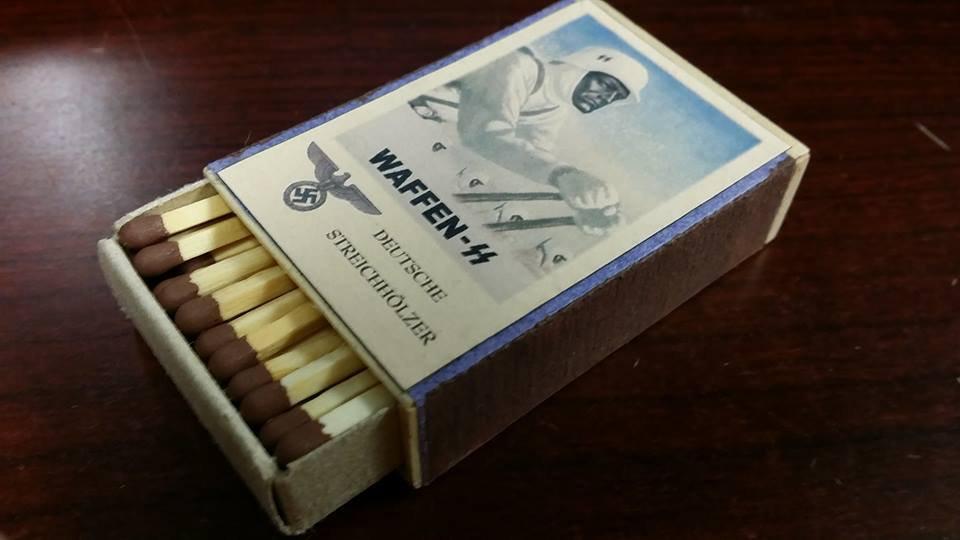 WWII Nazi German Waffen SS Ski battalion Skiing Vintage matchbox