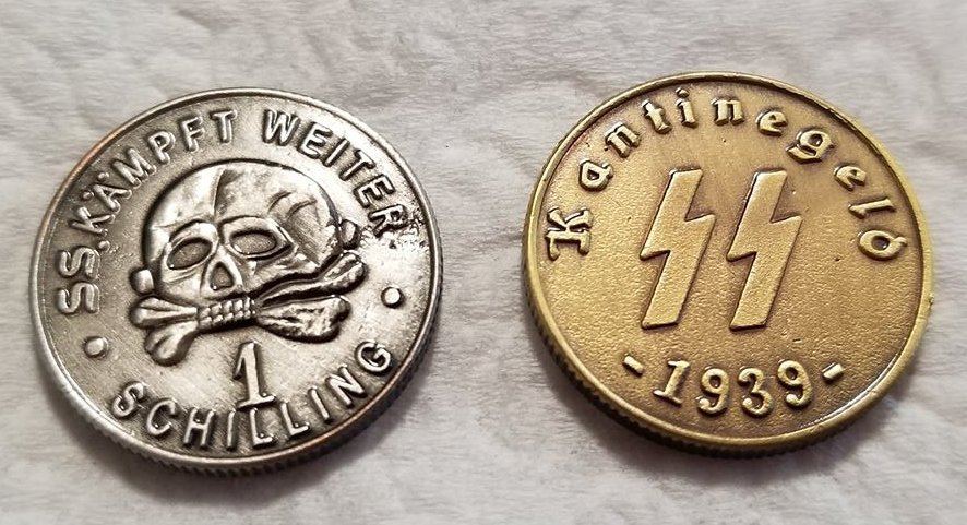 WWII WW2 Nazi German SS coin lot x 2  bar money coin 1939 bronze and silver
