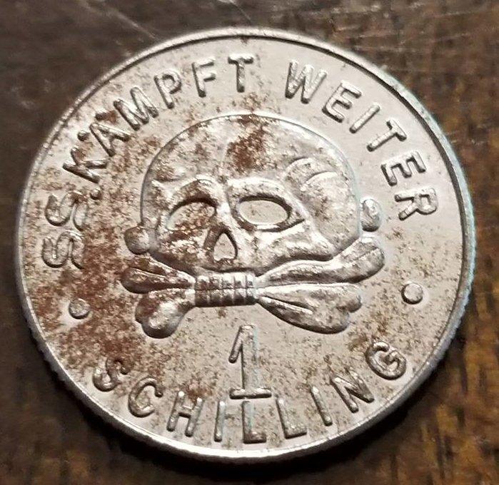 WWII WW2 Nazi German SS Kampft Weiter Totenkopf deathhead 1 schilling coin